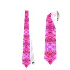 Pretty Pink Flower Pattern Neckties (one Side)