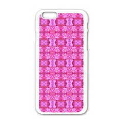 Pretty Pink Flower Pattern Apple Iphone 6/6s White Enamel Case