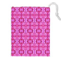 Pretty Pink Flower Pattern Drawstring Pouches (XXL)