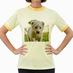 White Lion Cub Women s Fitted Ringer T Shirts