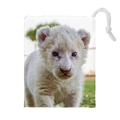 WHITE LION CUB Drawstring Pouches (Extra Large)