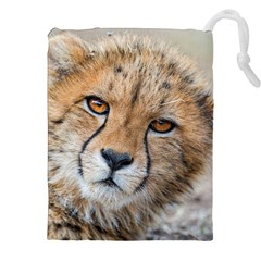 LEOPARD LAYING DOWN Drawstring Pouches (XXL)