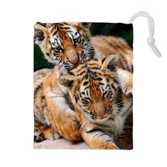 BABY TIGERS Drawstring Pouches (Extra Large)