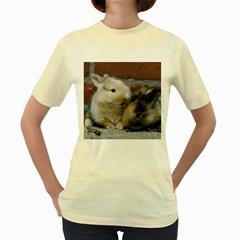 Small Baby Rabbits Women s Yellow T Shirt