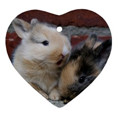 Small Baby Rabbits Heart Ornament (2 Sides)