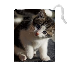 QUESTIONING KITTY Drawstring Pouches (Extra Large)