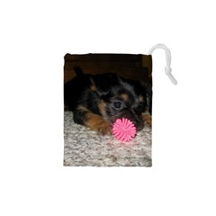 PUPPY WITH A CHEW TOY Drawstring Pouches (XS)