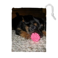 PUPPY WITH A CHEW TOY Drawstring Pouches (Extra Large)