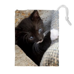 PRETTY BLUE-EYED KITTY Drawstring Pouches (Extra Large)