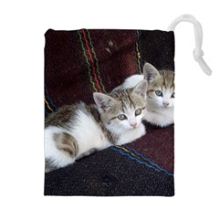 KITTY TWINS Drawstring Pouches (Extra Large)