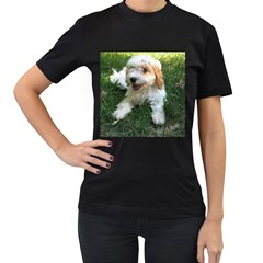 Cute Cavapoo Puppy Women s T Shirt (black) (two Sided)