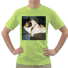 Calico Cat And White Kitty Green T Shirt