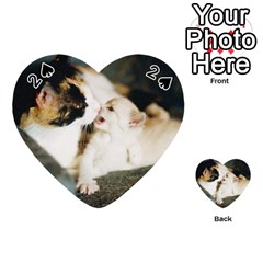 Calico Cat And White Kitty Playing Cards 54 (heart)