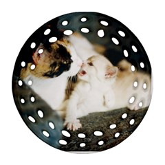 Calico Cat And White Kitty Ornament (round Filigree)
