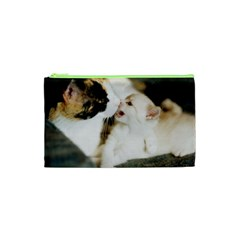 Calico Cat And White Kitty Cosmetic Bag (xs)