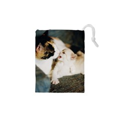 CALICO CAT AND WHITE KITTY Drawstring Pouches (XS)