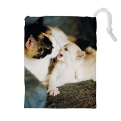 Calico Cat And White Kitty Drawstring Pouches (extra Large)