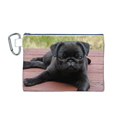 Alert Pug Puppy Canvas Cosmetic Bag (m)