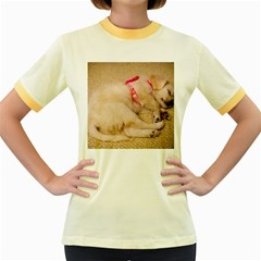 Adorable Sleeping Puppy Women s Fitted Ringer T Shirts