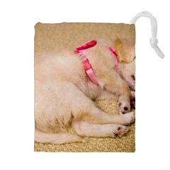 ADORABLE SLEEPING PUPPY Drawstring Pouches (Extra Large)