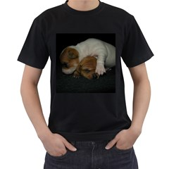 Adorable Baby Puppies Men s T Shirt (black) (two Sided)