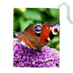 PEACOCK BUTTERFLY Drawstring Pouches (XXL)