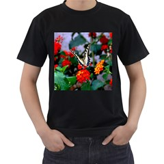 Butterfly Flowers 1 Men s T Shirt (black) (two Sided)