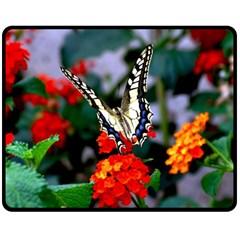 Butterfly Flowers 1 Fleece Blanket (medium)