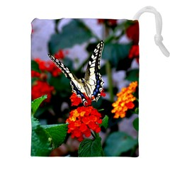 BUTTERFLY FLOWERS 1 Drawstring Pouches (XXL)