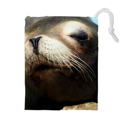 CUTE SEA LION Drawstring Pouches (Extra Large)