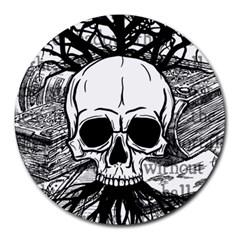 Skull & Books Round Mousepads