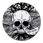 Skull & Books Round Mousepads Front
