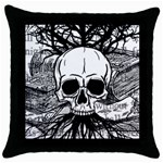 Skull & Books Throw Pillow Cases (Black) Front
