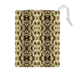 Gold Fabric Pattern Design Drawstring Pouches (Extra Large)
