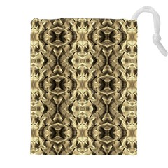 Gold Fabric Pattern Design Drawstring Pouches (xxl)