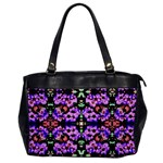 Purple Green Flowers With Green Office Handbags Front