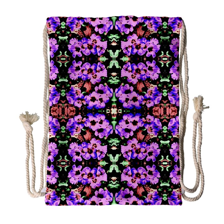 Purple Green Flowers With Green Drawstring Bag (Large)