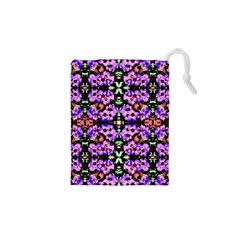 Purple Green Flowers With Green Drawstring Pouches (XS)