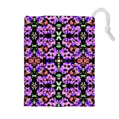 Purple Green Flowers With Green Drawstring Pouches (Extra Large)