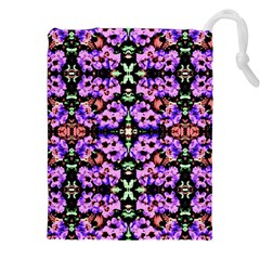 Purple Green Flowers With Green Drawstring Pouches (xxl)