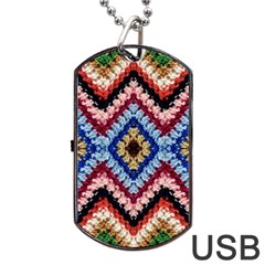 Colorful Diamond Crochet Dog Tag Usb Flash (one Side)