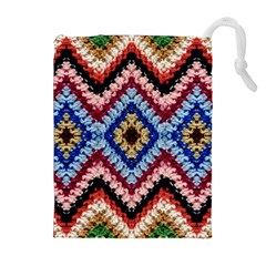 Colorful Diamond Crochet Drawstring Pouches (Extra Large)