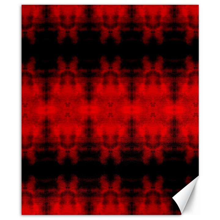 Red Black Gothic Pattern Canvas 8  x 10