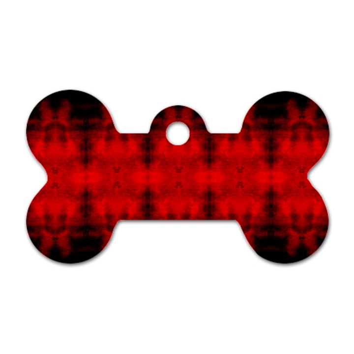 Red Black Gothic Pattern Dog Tag Bone (One Side)