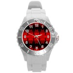 Red Black Gothic Pattern Round Plastic Sport Watch (L) Front