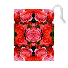 Beautiful Red Roses Drawstring Pouches (Extra Large)