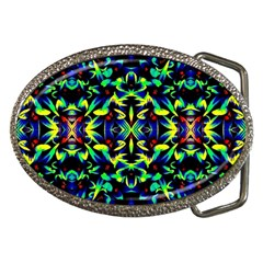 Cool Green Blue Yellow Design Belt Buckles