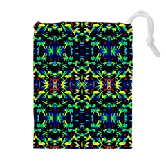 Cool Green Blue Yellow Design Drawstring Pouches (Extra Large)
