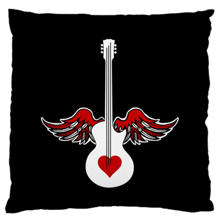 Flying Heart Guitar Large Flano Cushion Case (Two Sides)