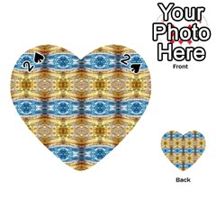 Gold And Blue Elegant Pattern Playing Cards 54 (heart)